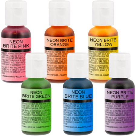Neon Food Coloring (US Cake Supply by Chefmaster Airbrush Cake Neon Color Set in 0.7 fl. oz.)