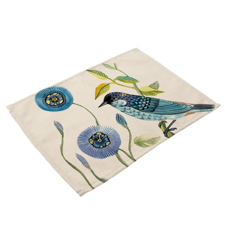 Soft Cotton Linen Tableware Mat Table Runner Hand Painted Bird Printied Tablecloth Desk Cover PM0015-1