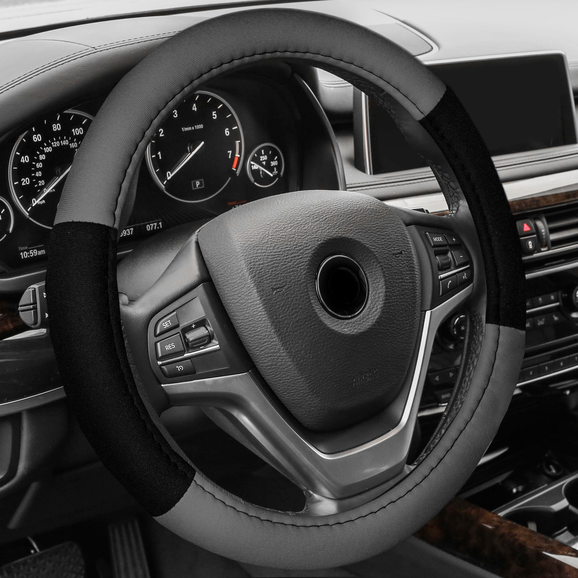 FH Group Cloth Steering Wheel Cover for Sedan, SUV, Van, Cloth Steering Wheel Cover, Gray Black