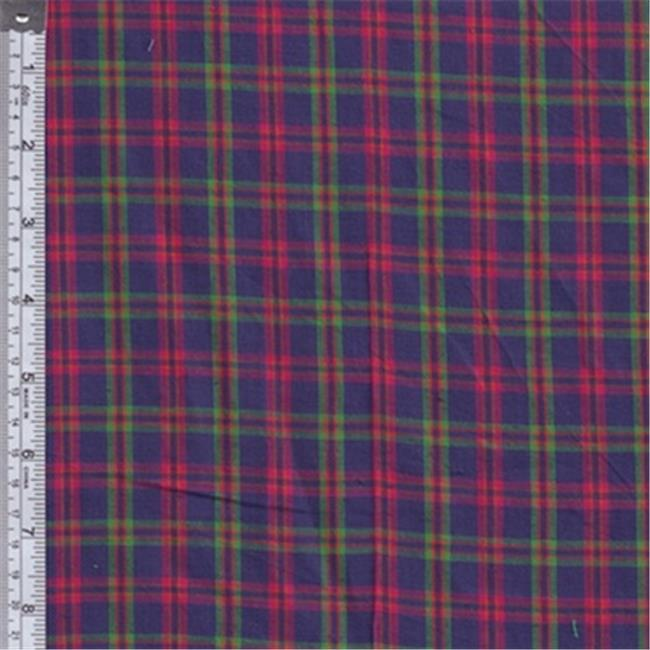 Textile Creations RW0122 Rustic Woven Fabric, Plaid Royal, Magenta And Green, 15 yd.