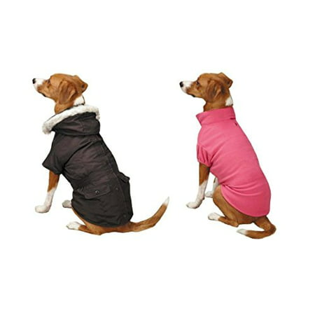 Eskimo Dog Jackets 3 In 1 Layered Water Resistant Fleece Lining in Brown or Grey(Large Brown / Pink)
