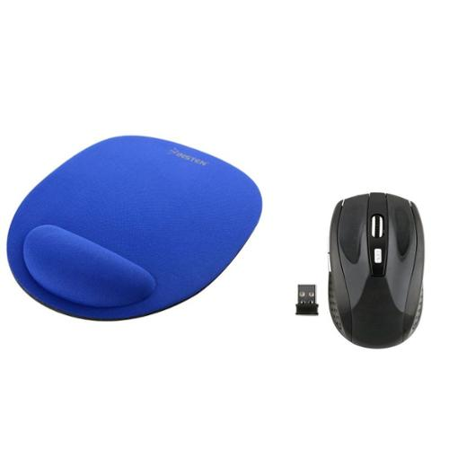Insten Blue Mousepad with Wrist Rest Support + Black 2.4G Cordless Wireless Optical Mouse with 800 1200 1600 DPI by Insten