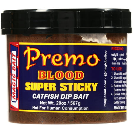 Magic Bait Premo Blood Super Sticky Catfish Dip Bait 20 oz Plastic Tub