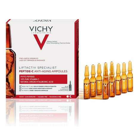 Vichy LiftActiv Anti-Aging Ampoules with Phyto Peptide and Vitamin C, Helps Hydrate and Plump Skin, 10 Count