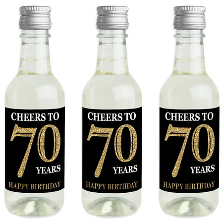Adult 70th Birthday - Gold - Mini Wine and Champagne Bottle Label Stickers - Birthday Party Favor Gift for Women and