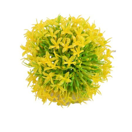 Unique Bargains Fish Tank Perforated Base Artificial Yellow Green Flower Ball Grass Decor