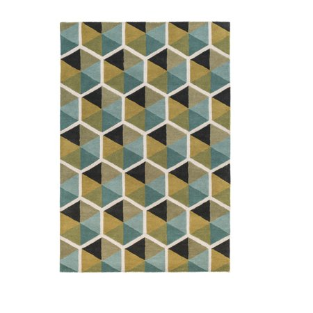 4 X 6 Honeycomb Illusion Mustard Yellow And Teal Blue