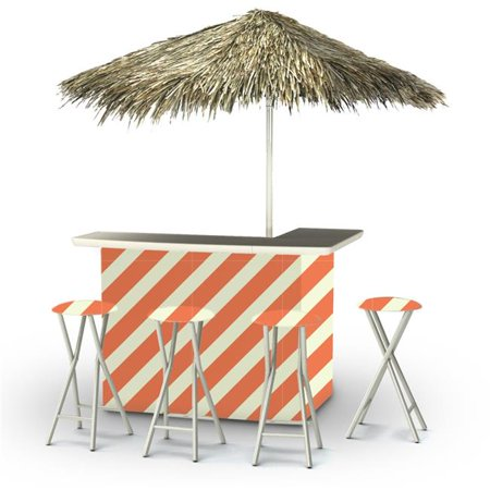Best of Times 2003W2114-OSP Candy Striper Palapa Portable Bar & 6 ft. Square Palapa Umbrella, Orange & Sherbet for $<!---->