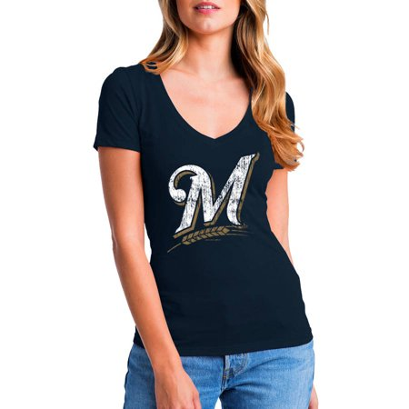 MLB Milwaukee Brewers Women's Short Sleeve Team Color Graphic Tee](Milwaukee Brewers Baseball)