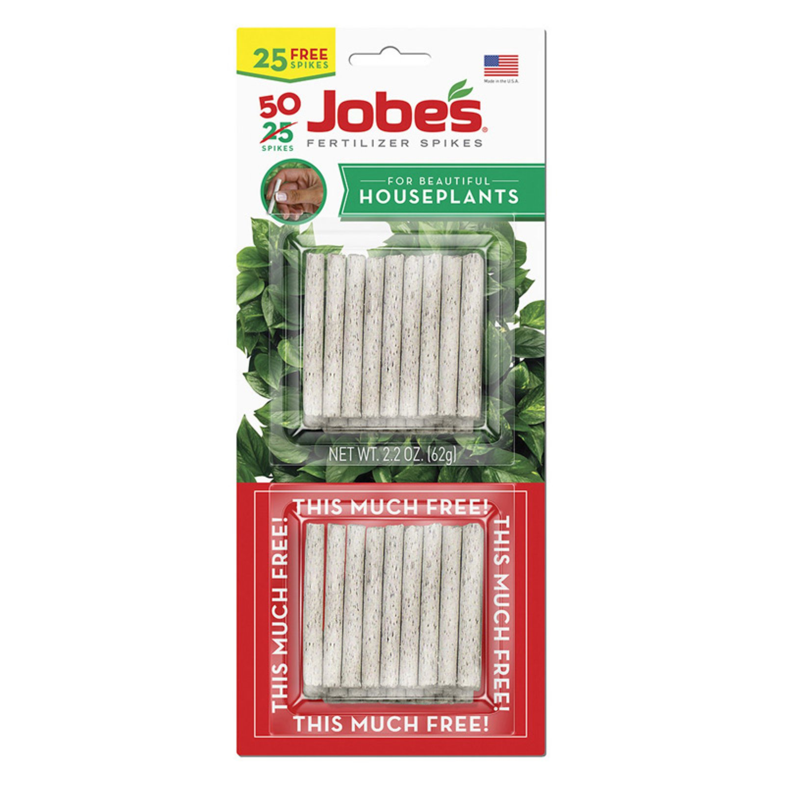 Jobes 5001T Houseplant Plant Food Spikes 13-4-5, 50-Pack