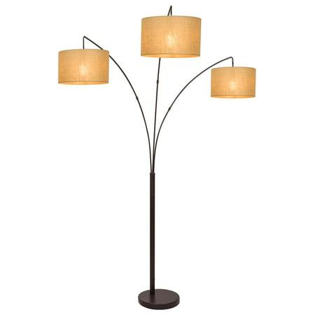 """Revel Akira 80"""" 3-Light Arc Floor Lamp, Antique Bronze Finish & Beige Burlap Drum Shades"""