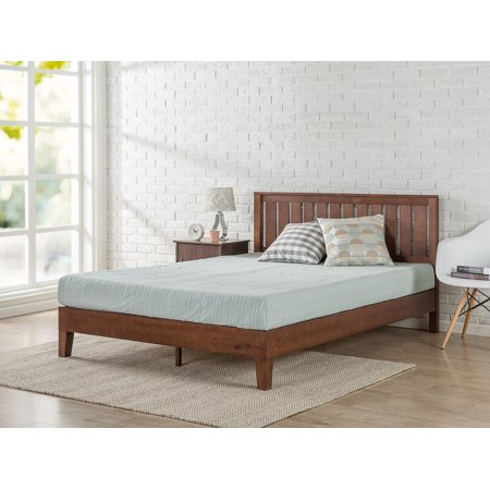 Deluxe Solid Wood Platform Bed With Headboard Without