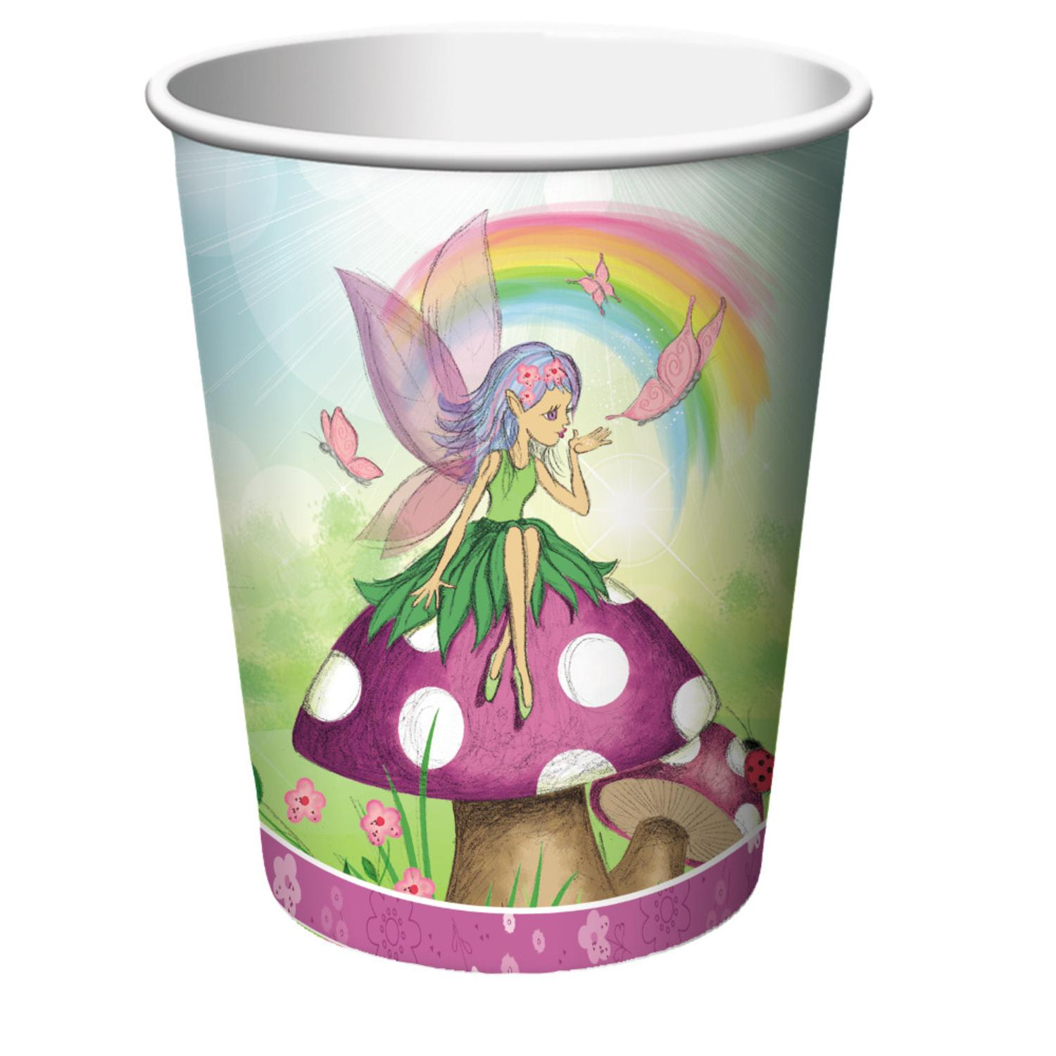 Club Pack of 96 Fancy Fairy Disposable Paper Hot and Cold Drinking Party Cups 9 oz.