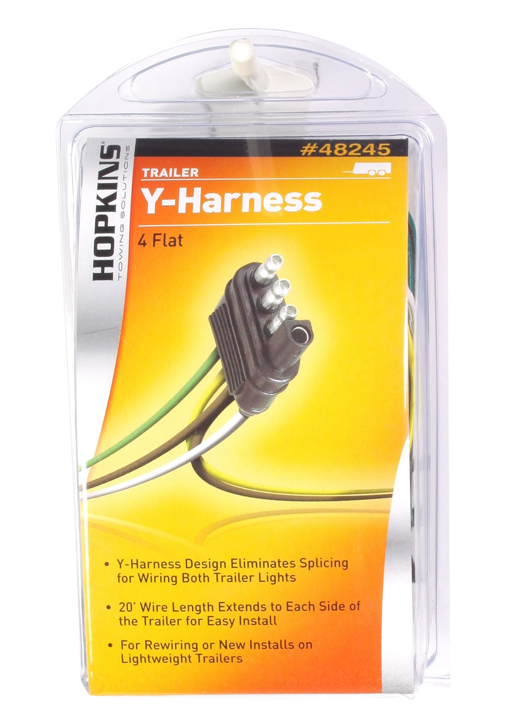 hopkins towing solutions 20' trailer end y-harness 4-wire flat set -  walmart com