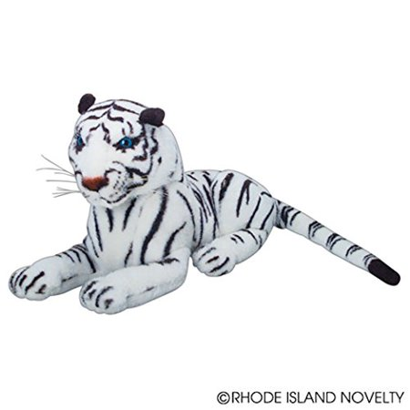 One Realistic Stuffed Animal Plush White Tiger In Laying Position - 15