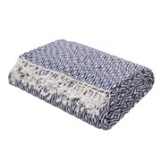 "Midnight Blue and Sea Foam White Hand loomed Fringe Throw Blanket 50"" x 60"""