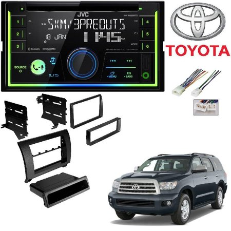 JVC KW-R930BTS Double 2 DIN CD/MP3 Player iHeart Radio SiriusXM Ready Bluetooth TOYK967GB 2007-2013 Toyota Tundra/2008-2013 Sequoia Dash Kit Gloss Black (2001 Toyota Sequoia Cd Player)