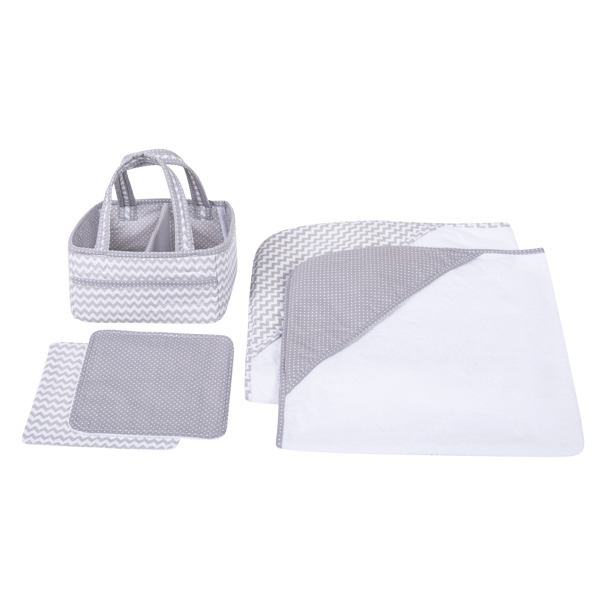 Gray Chevron 5 Piece Baby Bath Gift Set by Trend Lab