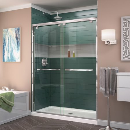DreamLine Encore 32 in. D x 54 in. W x 78 3/4 in. H Bypass Shower Door in Chrome and Center Drain White Base Kit