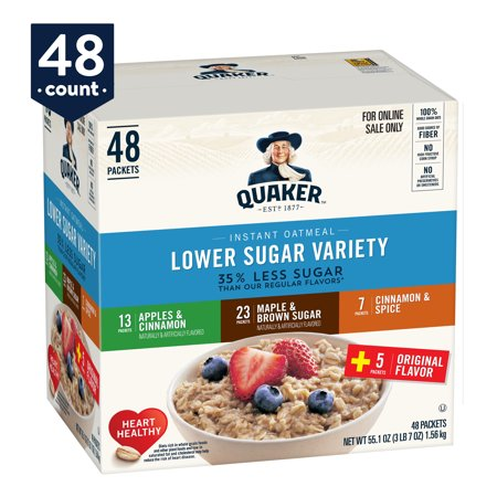 Quaker Instant Oatmeal, Lower Sugar Variety Pack, 48 Packets