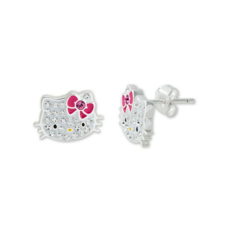669f409b8 Hello Kitty - Girl's Sterling Silver Clear Crystal Stud Earrings -  Walmart.com