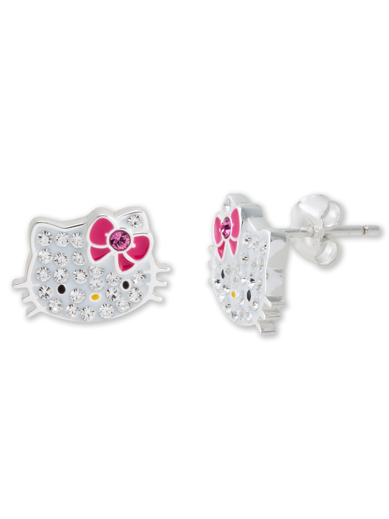 Hello Kitty Girl's Sterling Silver Clear Crystal Stud Earrings