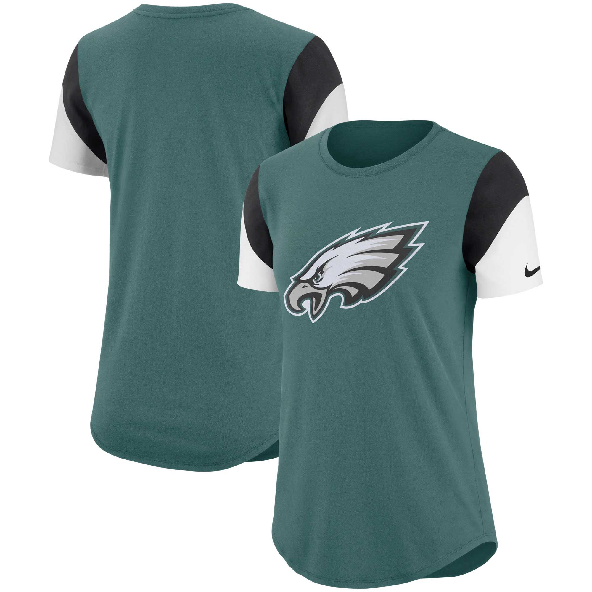 Philadelphia Eagles Nike Women's Tri-Blend Team Fan T-Shirt - Midnight Green/Black