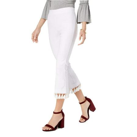 Junior Tassel-Trimmed Cropped Flare Stretch Pants 12