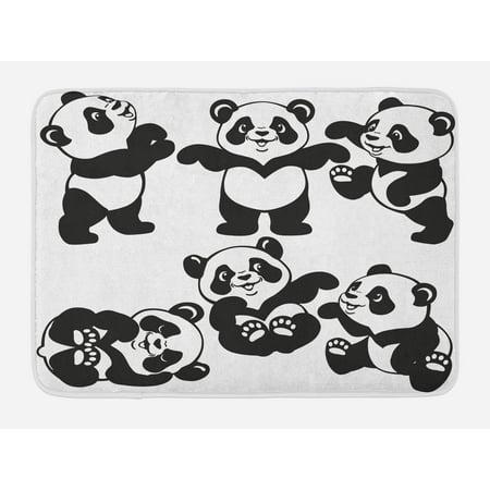 Nursery Bath Mat, Set with Playful Panda Bear in Monochrome Style Happy Young Zoo Animal Childhood, Non-Slip Plush Mat Bathroom Kitchen Laundry Room Decor, 29.5 X 17.5 Inches, Black White,
