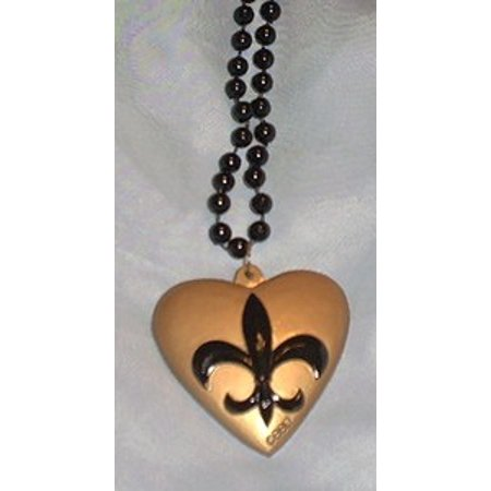 Gold Black Fleur De Lis Bead Mardi Gras Necklace Saints](Black And Gold Mardi Gras Beads)