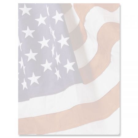 "American Flag Patriotic Letter Papers - Set of 25, American Flag stationery papers, 8 1/2"" x 11"", compatible computer paper, Patriotic Letterhead, 4th of July flyers, Veterans Day, Memorial Day"