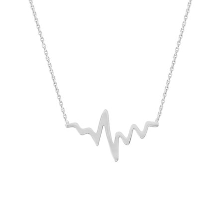 14K White Gold Heartbeat Necklace. Adjustable Diamond Cut Cable Chain 16