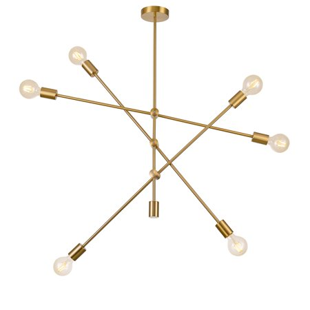 Pasargad Home Modern Gold Sputnik Chandelier 6 Lights Brass Plating will add a stylish look while complementing your room to create the perfect atmosphere,