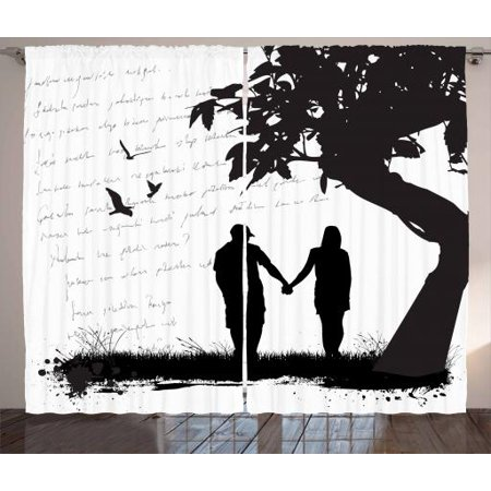 Girlfriend Curtains 2 Panels Set, Silhouette of a Couple in Love Holding Hands Under Tree Romance Theme, Window Drapes for Living Room Bedroom, 108W X 84L Inches, Black White and Grey, by Ambesonne - Couple Themes