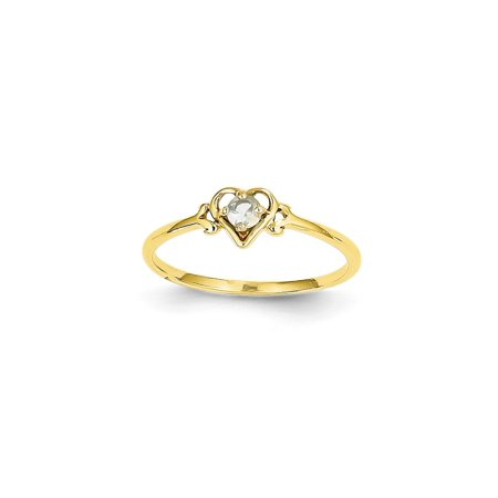 Aquamarine Ring Band (14k Yellow Gold Blue Aquamarine Birthstone Heart Band Ring Size 7.00 S/love March Gifts For Women For Her )