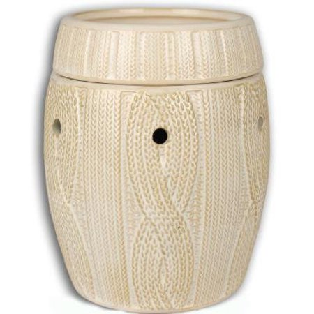 IVORY CABLE KNIT FRAGRANCE WARMER - WAX MELTER by Boulevard, Made of Ceramic Stoneware with Glossy Finish By IVORY CABLE KNIT FRAGRANCE WARMER WAX