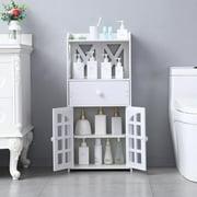 Ktaxon PVC Bathroom Toilet Furniture Cabinet White Wood Cupboard Shelf