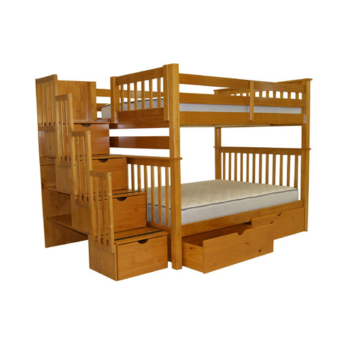 Bedz King Stairway Bunk Beds Full over Full with 4 Drawers in the Steps and 2 Under Bed Drawers, Cappuccino by Bedz King
