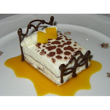 - Canvas Print Cake Sweet Dessert Mango White Chocolate Mousse Stretched Canvas 10 x 14