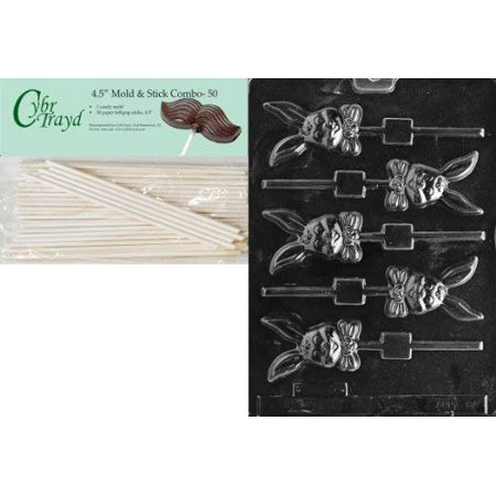 Cybrtrayd 45St50-E085 Smiling Long Eared Lolly Easter Chocolate Candy Mold with 50 Cybrtrayd 4.5-Inch Lollipop Sticks