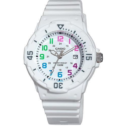 Casio Women's Diver Watch, White Strap and Multi-Colored Numerals