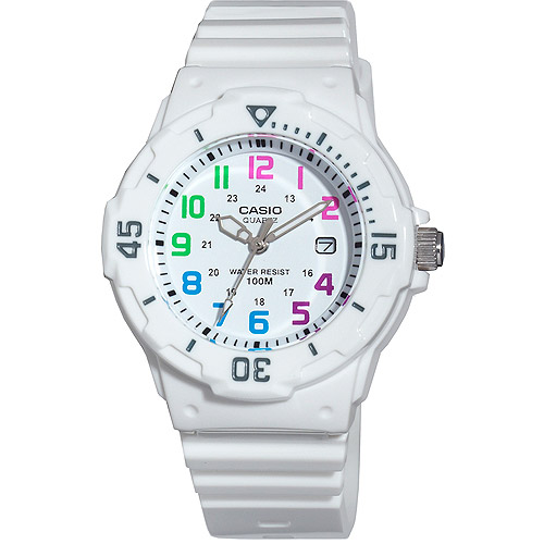 Casio Women's Diver Watch, White Strap and Multi-Colored Numerals