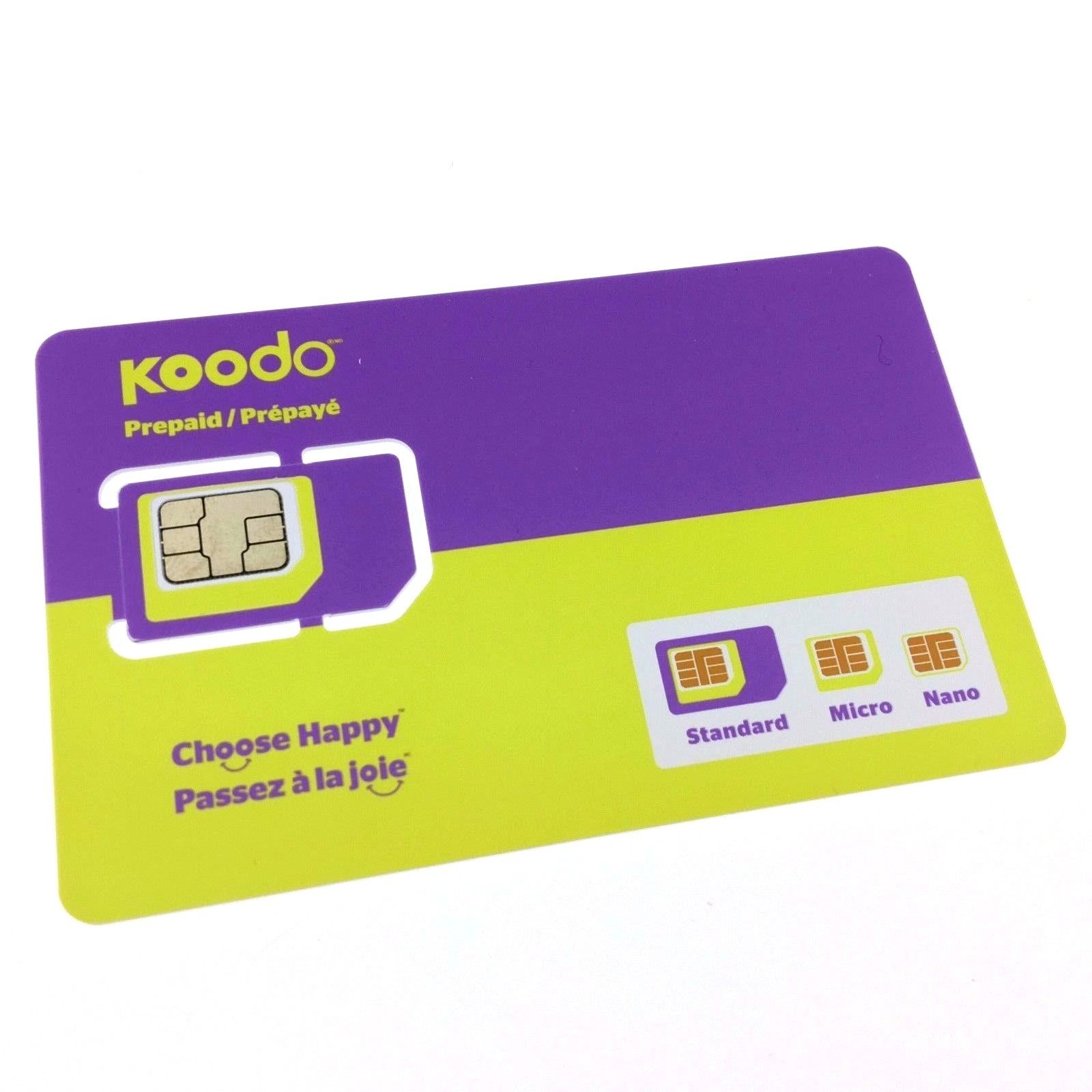 LIVEDITOR Koodo Multi Sim Card (Nano + Micro + Regular) $15 AIR TIME CREDIT included - image 1 de 2