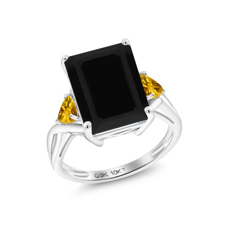 5.40 Ct Octagon Black Onyx Yellow Citrine 10K White Gold Ring