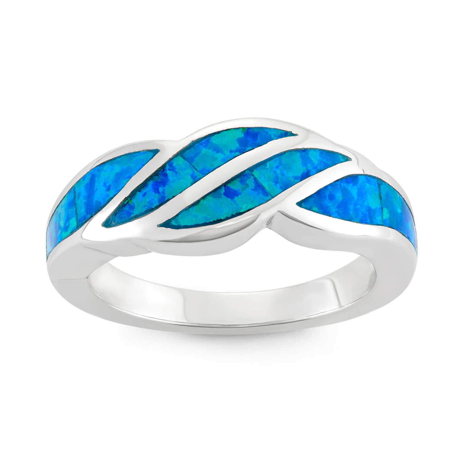 Beaux Bijoux Sterling Silver Blue Opal Designed Band Ring