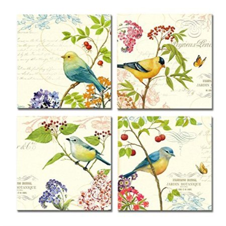 SpecialArt HIGH-END FRAME Wall Art - 4pcs Birds on the Trees of Bloom and Butterfly Pictures Print on Canvas Painting Stretched ()
