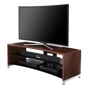 Fitueyes Curved Wooden Glass TV Stand for up to 55 inch Flant Panel and Curved Oled TVs Walnut Grain and Glossy Black  TS313001WW