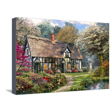 Victorian Cottage Gardens - Victorian Garden Cottage Stretched Canvas Print Wall Art By Dominic Davison