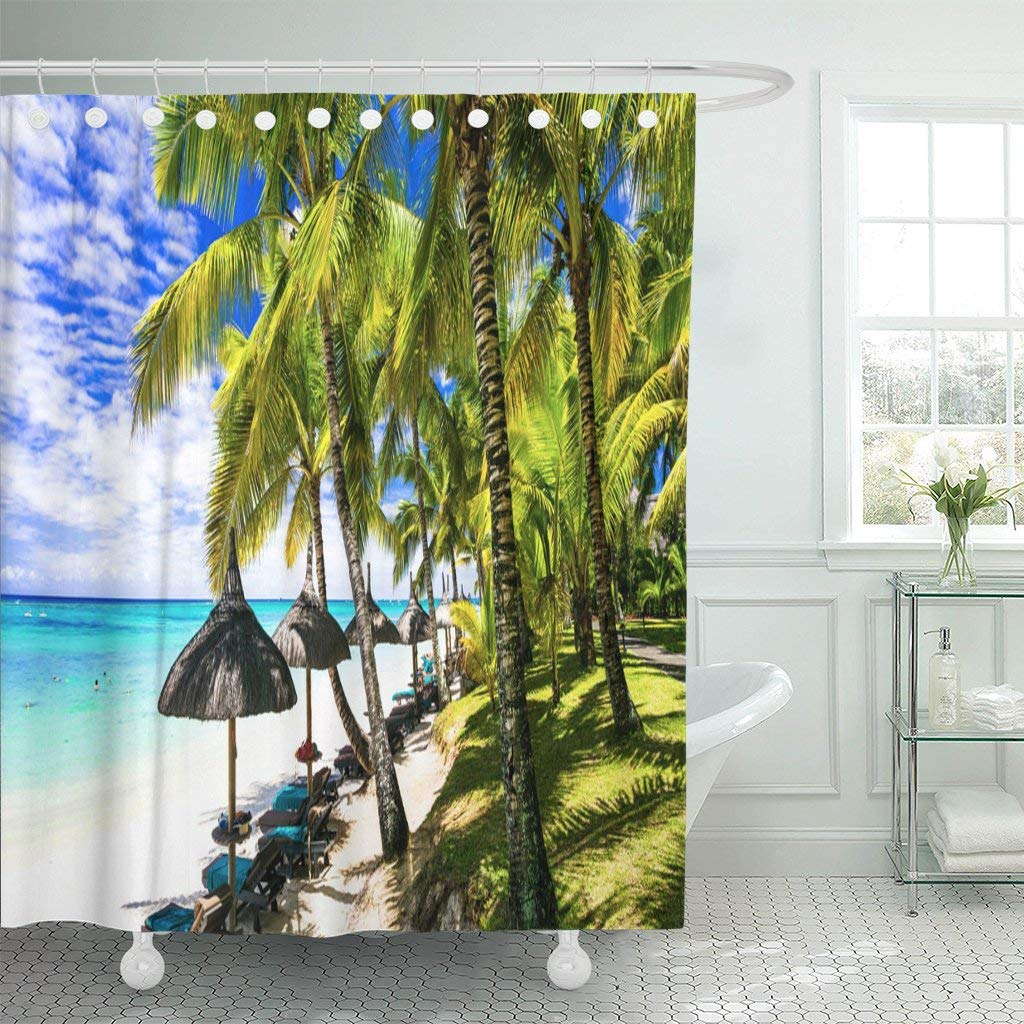 Bpbop Blue Vacation Relaxing Tropical Scenery Palm Beaches Of Mauritius Island Panorama Polyester Shower Curtain Bathroom Decor 66x72 Inches Walmart Com Walmart Com