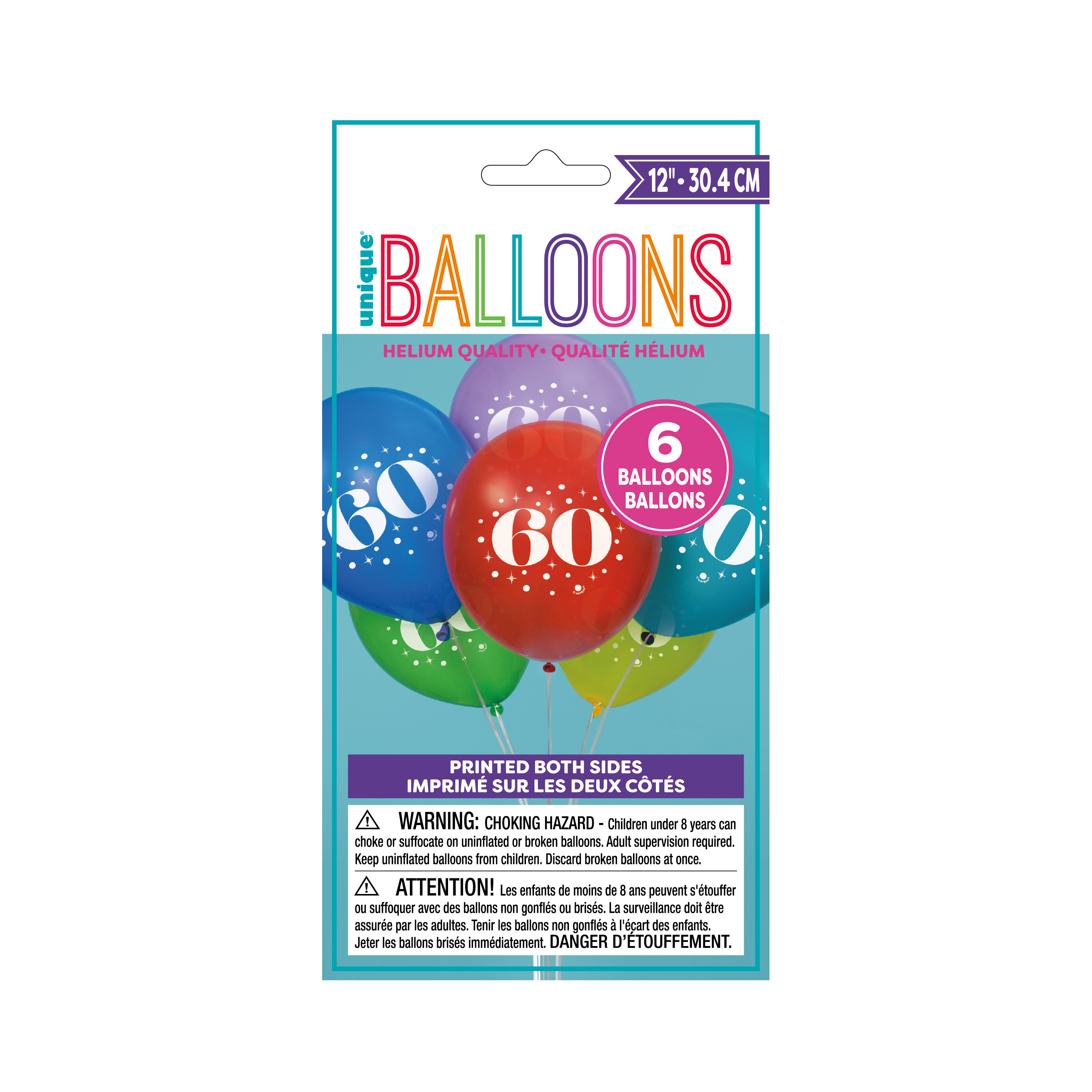 Latex Milestone Number 60 Balloons, Assorted, 12 in, 6ct